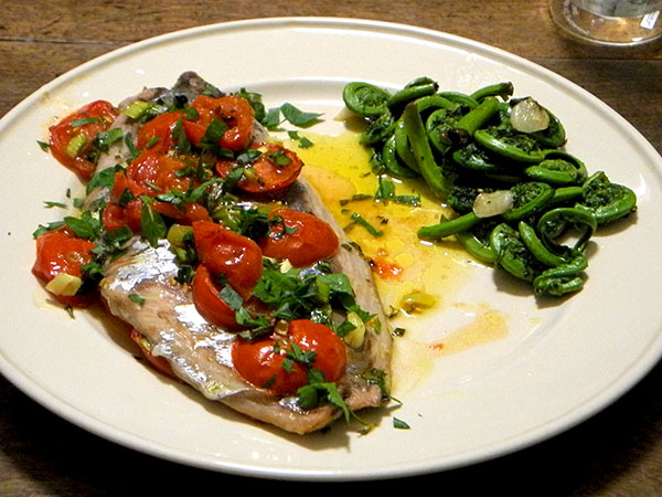 bluefish_roasted_with_tomatoes_fiddleheads