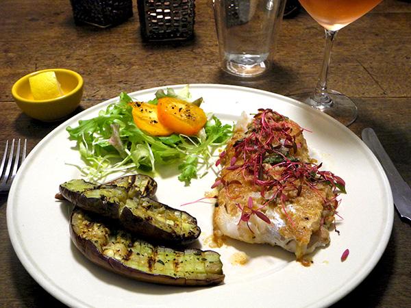hake_amaranth_eggplant_salad