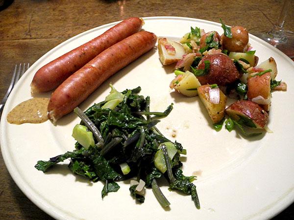 kielbasa_potato_salad_turnip_greens
