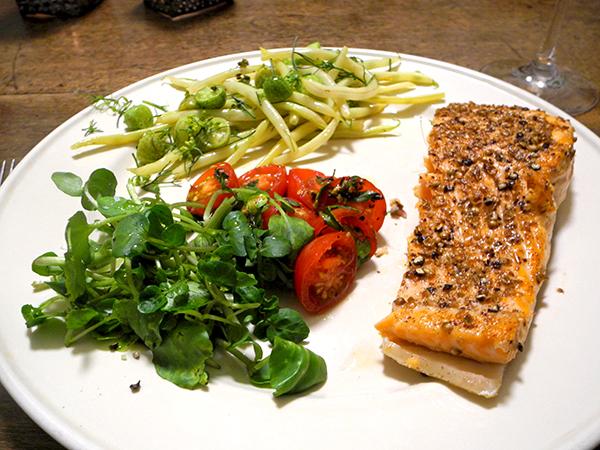 salmon_Haricots_jaune_tomato_cress